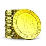 Bitcoin da moeda no fundo branco Ilustração 3d isolada Fotos de Stock Royalty Free
