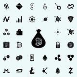 bitcoin dans une icône de sac Ensemble universel de cryptos icônes de devise pour le Web et le mobile illustration libre de droits