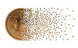 Bitcoin, das auseinander zu den Pixeln fällt Stockfotografie