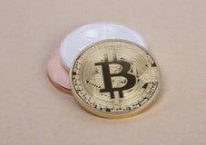 Bitcoin das moedas da prata e do bronze do ouro Imagem de Stock