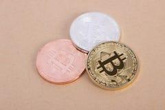Bitcoin das moedas da prata e do bronze do ouro Fotos de Stock