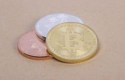Bitcoin das moedas da prata e do bronze do ouro Imagens de Stock