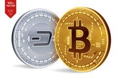 Bitcoin dash pièces de monnaie 3D physiques isométriques Devise de Digital Cryptocurrency Pièce en argent avec le symbole de tire Photo libre de droits