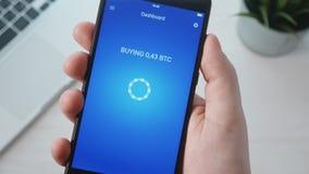 Bitcoin de achat utilisant le smartphone APP banque de vidéos