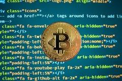Bitcoin/de achtergrond van Cryptocurrency en van de Code royalty-vrije stock afbeeldingen
