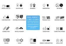 Bitcoin de Cryptocurrency, línea fina sistema del ethereum del icono Iconos perfectos del pixel con 1 línea anchura del px para a Imágenes de archivo libres de regalías