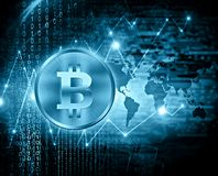 Bitcoin de devise de Digital, argent numérique futuriste, concept d'Internet des affaires globales fond technologique Photo libre de droits