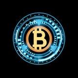 Bitcoin De digitale munt, digitaal geld, het concept van het technologiewereldwijde netwerk, hud stileert, illustratie stock illustratie