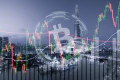 Bitcoin de effectenbeursinvestering van de handeluitwisseling, forex met tre Stock Foto