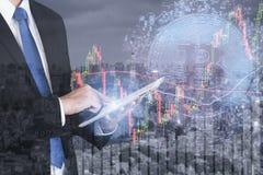 Bitcoin de effectenbeursinvestering van de handeluitwisseling, forex met tre Royalty-vrije Stock Afbeelding