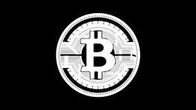 Bitcoin de giro de oro animación del lazo con el canal mate almacen de video