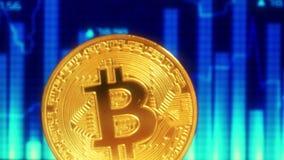 Bitcoin de la moneda de oro, contra la perspectiva de la exhibición con un gráfico de la Crypto-moneda de las citas El foco se mu ilustración del vector