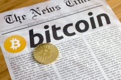 Bitcoin de nieuwe online munt Stock Afbeelding