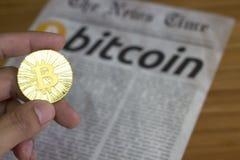 Bitcoin de nieuwe online munt Stock Fotografie
