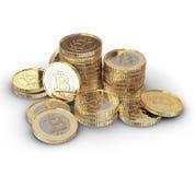 Bitcoin de oro Imagen de archivo libre de regalías