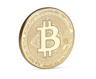 Bitcoin de oro aislado en el fondo blanco Foto de archivo libre de regalías