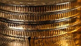 Bitcoin de oro Cryptocurrency almacen de metraje de vídeo