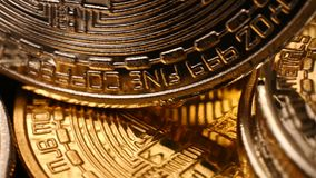 Bitcoin de oro Cryptocurrency almacen de video
