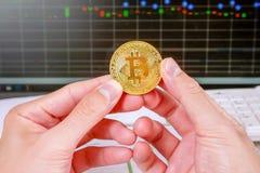 Bitcoin de oro a disposición que se sostiene con el gráfico del mercado de acción del monitor, fondo Crypto del concepto de la mo Fotos de archivo