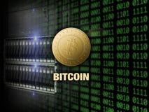 Bitcoin de oro en el servidor y el fondo digital del código Imagenes de archivo