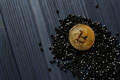 Bitcoin de oro en joyas negras Moneda de oro del cryptocurrency fotos de archivo libres de regalías