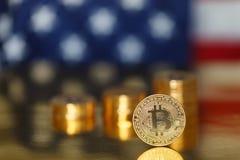 Bitcoin de oro en los E.E.U.U. Foto de archivo