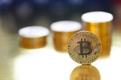 Bitcoin de oro en los E.E.U.U. imágenes de archivo libres de regalías