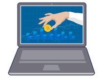 Bitcoin de pièce de monnaie à disposition sur le moniteur d'ordinateur portable 3d illustration tridimensionnelle très belle, fig Images libres de droits