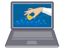 Bitcoin de pièce de monnaie à disposition sur le moniteur d'ordinateur portable 3d illustration tridimensionnelle très belle, fig Photographie stock libre de droits
