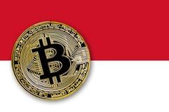bitcoin de pièce de monnaie de l'illustration 3D sur le drapeau de du Monaco illustration libre de droits