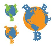 bitcoin de planète illustration de vecteur