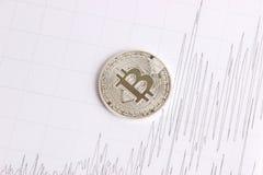 Bitcoin de plata en los gráficos del fondo Foto de archivo libre de regalías