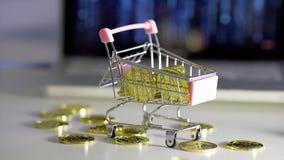 Bitcoin de pluie dans le chariot Carnet de fond Pluie clips vidéos