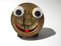 Bitcoin de sorriso Fotografia de Stock Royalty Free