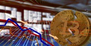 Bitcoin De wisselkoerswaardevermindering van de effectenbeursneerstorting royalty-vrije stock foto