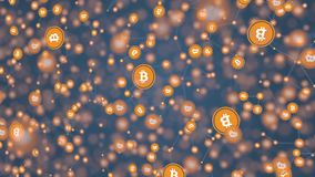 Bitcoin deals or transactions model. Cryptocurrency related background, 3D rendering. Bitcoin deals or transactions model Royalty Free Stock Photos