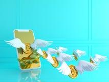 Bitcoin dell'oro con l'ala e lo smartphone Concetto finanziario di sviluppo 3 immagine stock