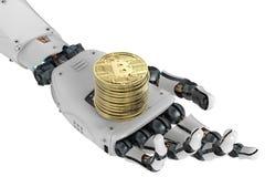 Bitcoin dell'oro della tenuta del robot Fotografie Stock