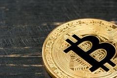 Bitcoin della moneta di oro Fotografie Stock