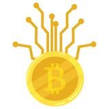 Bitcoin della moneta di oro Icona cripto di valuta mining Innesta l'icona Illustrazione di affari Immagine Stock Libera da Diritti