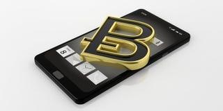 bitcoin della rappresentazione 3d su uno Smart Phone Fotografie Stock Libere da Diritti