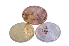 Bitcoin delle monete dell'argento e del bronzo dell'oro Immagine Stock Libera da Diritti