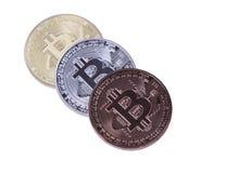 Bitcoin delle monete dell'argento e del bronzo dell'oro Immagine Stock