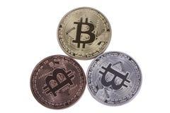 Bitcoin delle monete dell'argento e del bronzo dell'oro Fotografia Stock Libera da Diritti