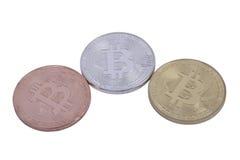 Bitcoin delle monete dell'argento e del bronzo dell'oro Immagini Stock Libere da Diritti