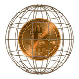 Bitcoin dentro la gabbia scena 3d Immagini Stock Libere da Diritti