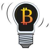 Bitcoin in der Lampe Licht-Vektorikone stock abbildung
