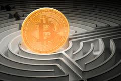 Bitcoin in der Mitte des dunklen Labyrinths, 3D Stockfotografie