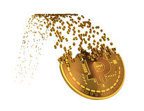 Bitcoin descend après que se lève et tombant en morceaux aux chiffres illustration libre de droits