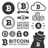 Bitcoin Design Elements and Labels Stock Image